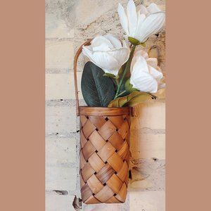 Modern Brown Woven Long Hanging Basket Vase